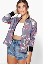 Boohoo Felicity Floral Bomber Jacket Lilac