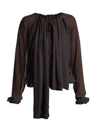 Loewe Polka Dot Ruched Blouse Black White