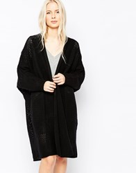 Shae Oona Long Line Ribbed Cardigan Black