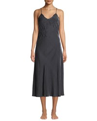 Vivis Doriana Velour And Lace Nightgown Dark Gray
