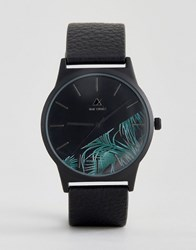 Asos Watch With Palm Print Face Black