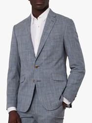 Jaeger Linen Blend Check Slim Fit Blazer Blue