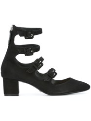 Schutz Buckle Strap Mid Heel Pumps Black