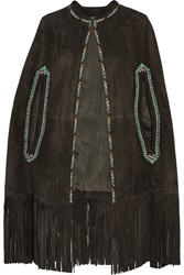Talitha Fringed Embroidered Suede Cape