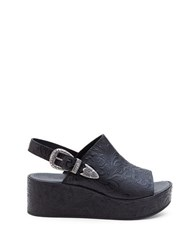 Matisse Bonaroo Leather Wedge Sandals Black