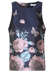 True Decadence Jacquard Floral Shell Top Navy