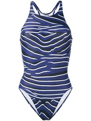 Adidas By Stella Mccartney Zebra One Piece Swimsuit Women Elastodiene Polyamide Polyester Spandex Elastane Xs Blue