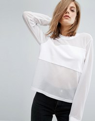 Dr. Denim Dr Top With Mesh Panel Detail White