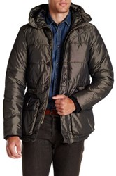 Scotch And Soda Quilted Long Hooded Jacket Black