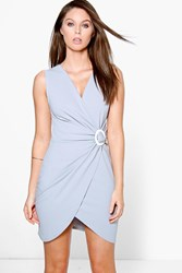 Boohoo Circular Ring Detail Wrap Bodycon Dress Grey