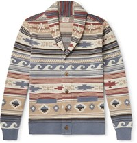 Faherty Shawl Collar Fair Isle Intarsia Linen And Cotton Blend Cardigan Multi