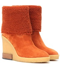 Tod's Suede Wedge Ankle Boots Orange