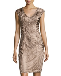 Sue Wong Embroidered V Neck Cap Sleeve Dress Taupe