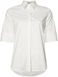 Carolina Herrera Three Quarter Sleeve Pintucked Shirt Women Cotton Spandex Elastane 12 White