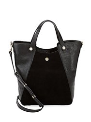 Halston Leather And Suede Tote Bag Black