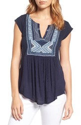 Lucky Brand Women's Embroidered Bib Top