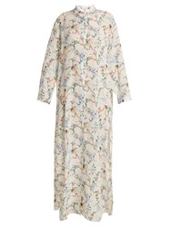 Kalmar Mandarin Collar Floral Print Silk Crepe Dress White Multi