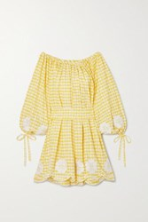 Innika Choo Frida Burds Off The Shoulder Checked Broderie Anglaise Cotton Mini Dress Yellow
