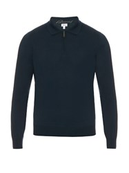 Brioni Zip Up Wool Polo Top