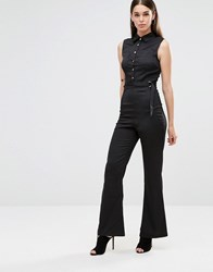 Ax Paris Button Front Flared Jumpsuit Black