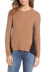 Madewell Women's Back Zip Pullover Marled Caramel Colorblock
