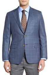 Hickey Freeman Blue Plaid Two Button Notch Lapel Wool Classic Fit Blazer