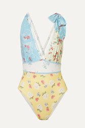 Loveshackfancy Millicent Bow Embellished Patchwork Swimsuit Pastel Yellow