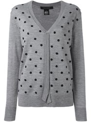 Marc Jacobs Embroidered V Neck Sweater Grey