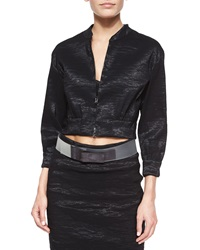 Donna Karan Crinkled Organza Cropped Jacket