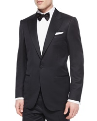 Ermenegildo Zegna One Button Wool Tuxedo Jacket Black