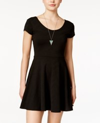 Planet Gold Juniors' Cap Sleeve Textured Fit And Flare Dress Black
