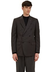 Ermenegildo Zegna Double Breasted Checked Blazer Jacket Grey