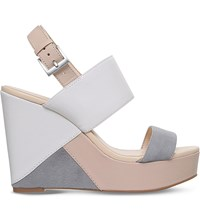 Nine West Dreamz Leather And Suede Wedge Sandals Cream Comb