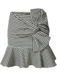 Veronica Beard Gingham Ruffle Miniskirt Women Cotton Elastodiene 4 Black