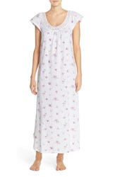 Women's Carole Hochman Designs Lace Trim Floral Print Cotton Long Nightgown