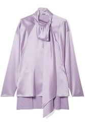 Adam By Adam Lippes Pussy Bow Silk Satin Blouse Lilac