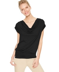 Studio M Dolman Sleeve Cowl Neck Top Black