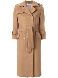 Thom Browne Camel Hair Double Breasted Trench Coat Nude And Neutrals