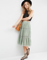 Asos Midi Skirt With Lace Inserts And Tiering Sage Green