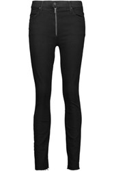 Mother The Fly Stunner Frayed Mid Rise Straight Leg Jeans Black