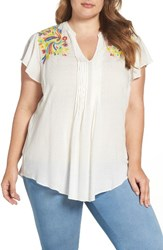 Melissa Mccarthy Seven7 Plus Size Women's Embroidered Pintuck Blouse