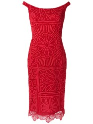 Martha Medeiros Lace Midi Dress Red