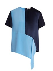 Diane Von Furstenberg Colour Block Silk Top Blue Navy