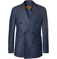 Tod's Indigo Double Breasted Washed Denim Blazer