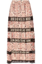 Alice Olivia Hetty Lace Paneled Printed Georgette Maxi Skirt Brick