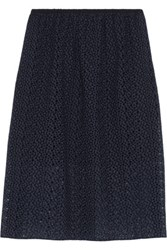 Tibi Broderie Anglaise Cotton Midi Skirt Navy
