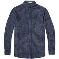 Engineered Garments 19Th Century Button Down Shirt Navy Brushed Polka Dot Twill