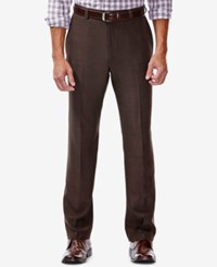 Haggar Eclo Stria Classic Fit Dress Pants Brown