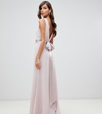 Tfnc Sateen Bow Back Maxi Bridesmaid Dress In Pink