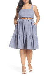 Eliza J Plus Size Belted Gingham Seersucker Fit And Flare Dress Navy Ivory